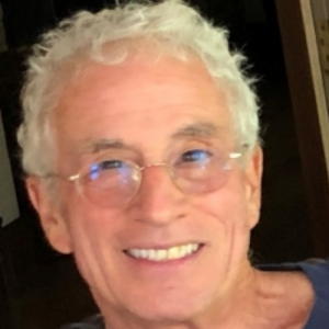 A headshot of a man with grey hair. He is wearing a blue shirt and glasses and is smiling at the camera.