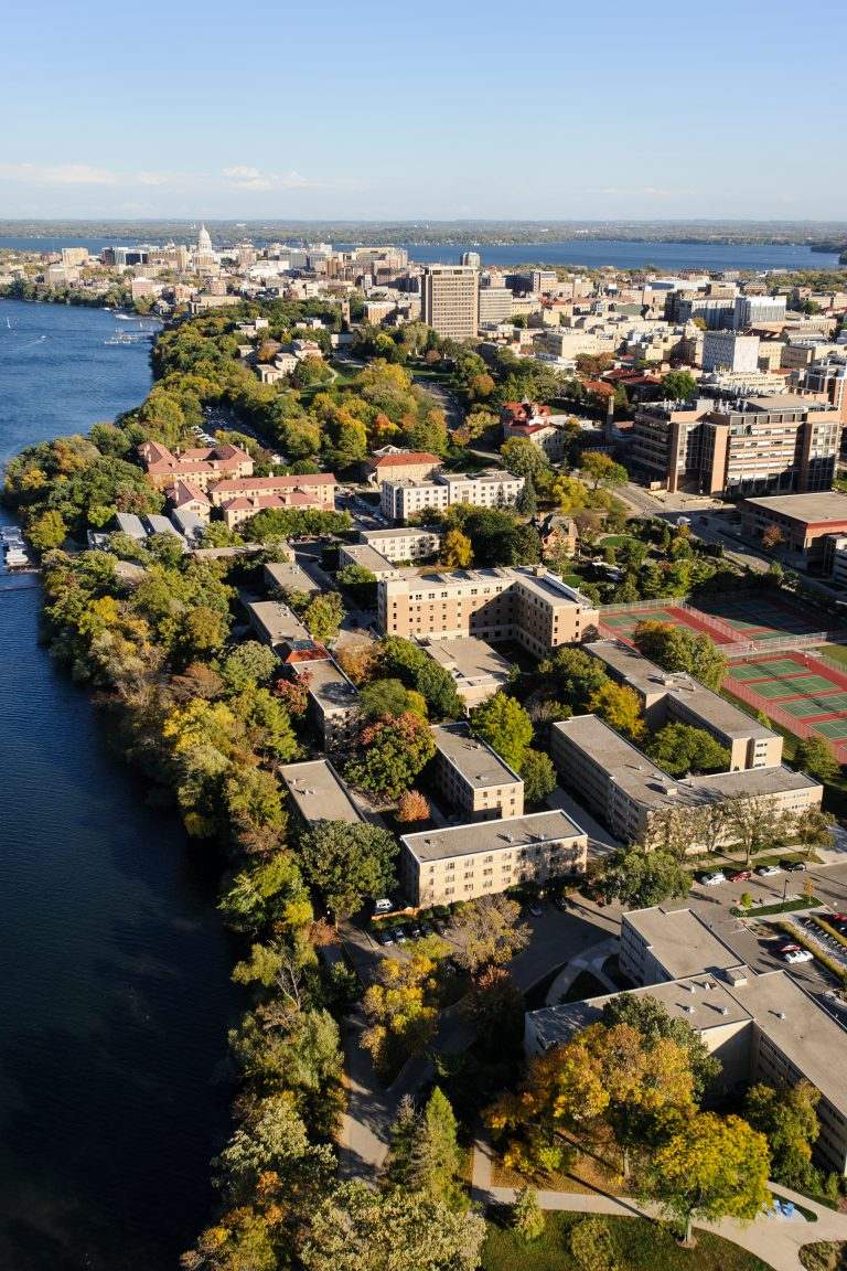 An aerial view of the UW-Madison campus.