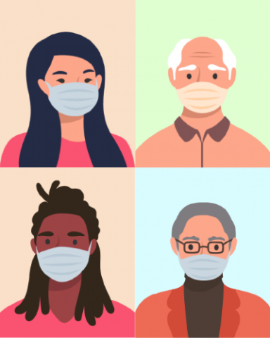 An illustration of four individuals in masks