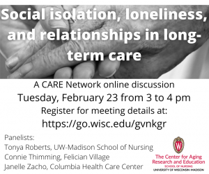 Flyer: Social isolation, loneliness, and relationships in long-term care